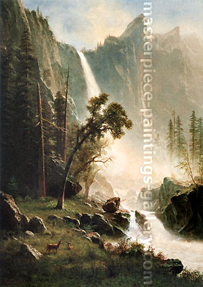 Albert Bierstadt, Bridal Veil Falls 2, Yosemite, 1871-73, oil on canvas, 36.1 x 26.7 in. / 91.8 x 67 cm, US$500