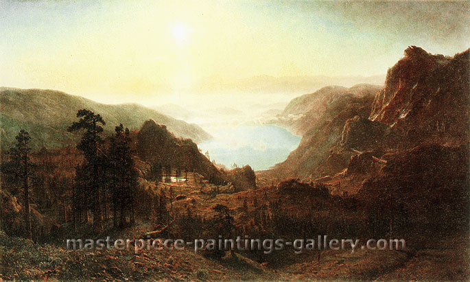 Albert Bierstadt, Donner Lake from the Summit, 1873, oil on canvas, 36 x 60 in. / 91.5 x 152.4 cm, US$720
