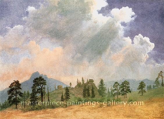 Albert Bierstadt, Fir Trees and Storm Clouds, 1862, oil on canvas, 20.6 x 28.1 in. / 52.4 x 71.4 cm, US$310