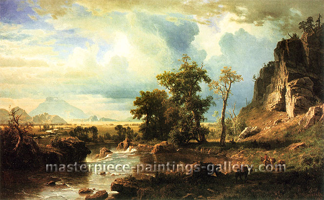 Albert Bierstadt, North Fork of Platte, Nebraska, 1863, oil on canvas, 36 x 57.5 in. / 91.4 x 146 cm, US$660