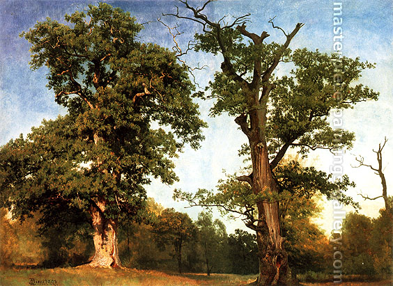 Albert Bierstadt, Pioneers of the Woods, 1855, oil on canvas, 19 x 25.8 in. / 48.3 x 65.4 cm, US$320