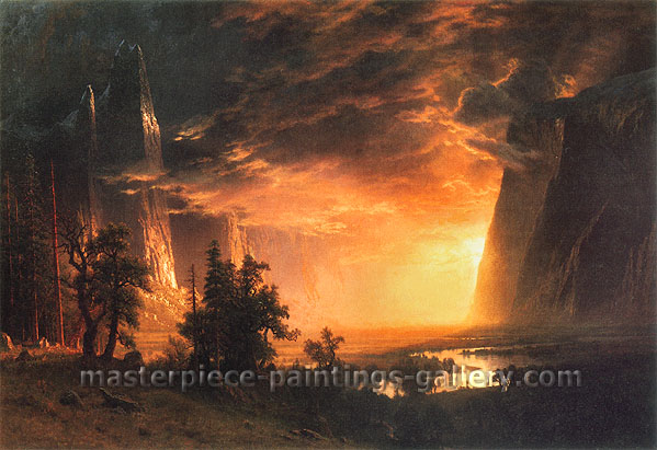 Albert Bierstadt, Sunset in the Yosemite Valley, 1868, oil on canvas, 36.3 x 52.3 in. / 92.1 x 132.7 cm, US$600
