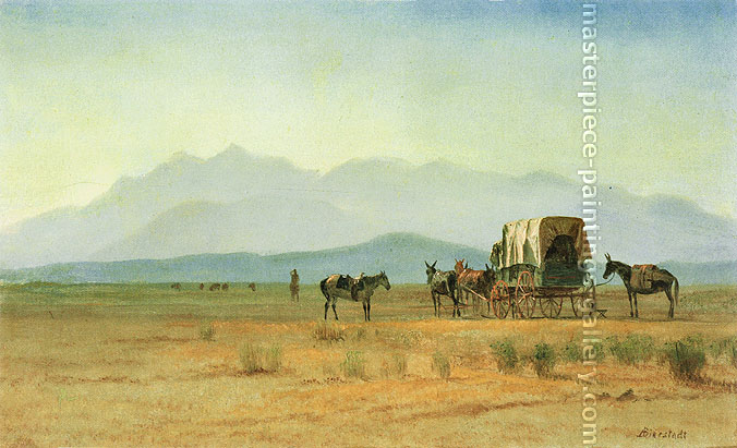 Albert Bierstadt, Surveyor's Wagon in the Rockies, 1859, oil on canvas, 15.5 x 25.2 in. / 39.4 x 64 cm, US$320