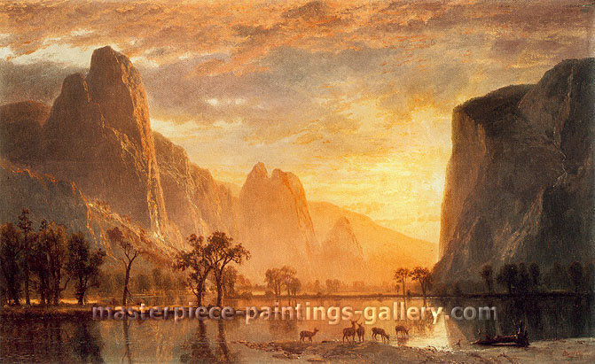 Albert Bierstadt, Valley of Yosemite, 1864, oil on canvas, 17.6 x 28.9 in. / 44.7 x 73.4 cm, US$400