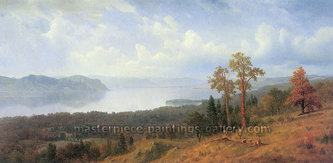 Albert Bierstadt, View of the Hadson Looking Across the Tappan Zee Towards Hook Mountain, 1866, oil on canvas, 16 x 32 in. / 40.8 x 81.3 cm, US$430
