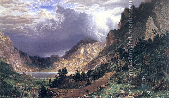 Albert Bierstadt, Storm in Rocky Mountains, Mt. Rosalie, 1869, 30.6 x 51.3 in. / 77.7 x 130.3 cm, US$750