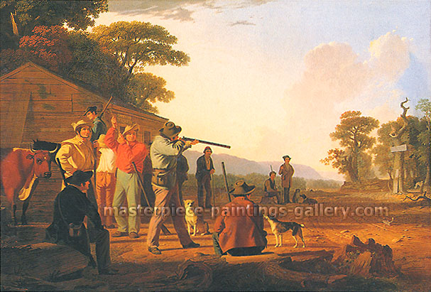George Caleb Bingham, Shooting for the Beef, 1850, oil on canvas, 16.3 x 24 in. / 41.5 x 61 cm, US$280