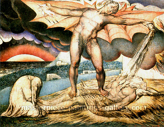 William Blake, Satan Smiting Job with Sore Boils, 1826, oil on canvas, 32 x 25 in. / 81.4 x 63.5 cm, US$330