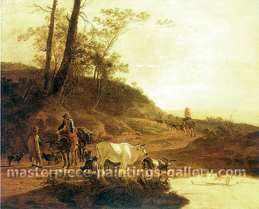Jan Both, Muleteers and Herdsman�with an Ox and Goats by a Pool, 1645, oil on canvas, 22.4 x 27.3 in./57 x 69.5 cm, US$290