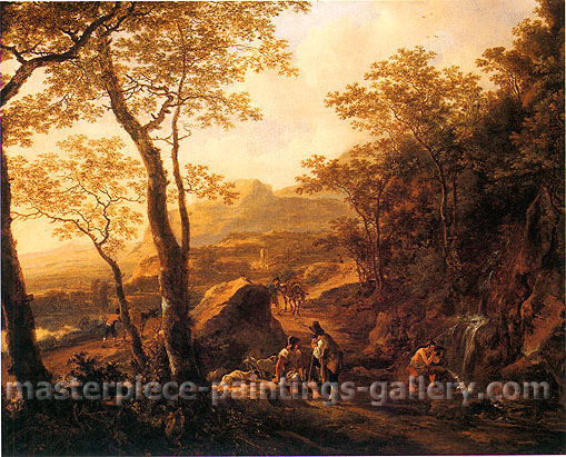 Jan Both, A Rocky Italian Landscape, 1640, oil on canvas, 26.3 x 31.9 in. / 66.8 x 81.1 cm, US$340