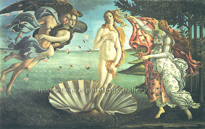 Sandro Botticelli, Birth of Venus, 1485, oil on canvas, 46.3 x 74.7 in. / 117.5 x 189.7 cm, US$2300