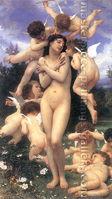 Adolphe William Bouguereau, Le Printemps, oil on canvas, 32 x 18.1 in. / 81.3 x 46 cm, US$570