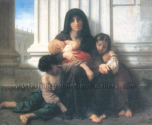 Adolphe William Bouguereau, Indigent Family | Charity, 1865, oil on canvas, 32.4 x 39.4 in. / 82.2 x 100 cm, US$650