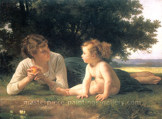 Adolphe William Bouguereau, Temptation, 1880, oil on canvas, 38.1 x 51.2 in. / 97 x 130 cm, US$900