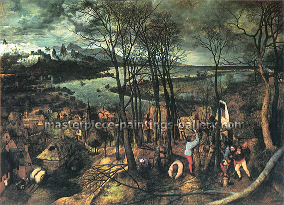 Pieter Bruegel the Elder, Gloomy Day | Dark Day | Cloudy Day, 1565, oil on canvas, 28.2 x 39 in. / 71.7 x 99 cm, US$600