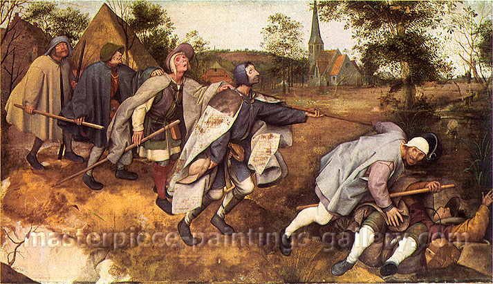 Pieter Bruegel the Elder, Parable of the Blind Men, 1568, oil on canvas, 17.9 x 32 in. / 45.4 x 81.3 cm, US$400