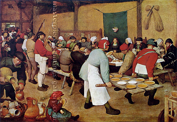 Pieter Bruegel the Elder, Wedding Banquet | The Peasants Wedding, 1567, oil on canvas, 27.3 x 39 in. / 69.3 x 99 cm, US$460
