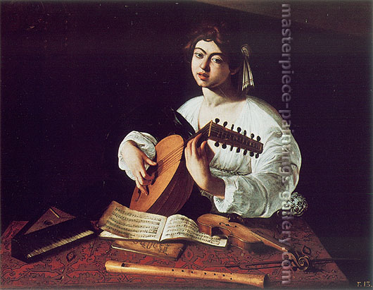 Michelangelo Merisi da Caravaggio, The Lute-Player 1600, 1600, oil on canvas, 39.4 x 49.8 in. / 100 x 126.5 cm, US$500