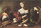 Michelangelo Merisi da Caravaggio, Martha and Mary Magdalene., 1595, oil on canvas, 39.4 x 53 in. / 100 x 134.5 cm, US$540