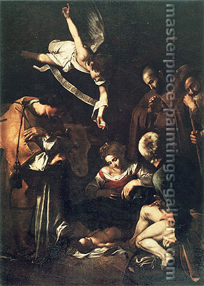 Michelangelo Merisi da Caravaggio, The Nativity with St. Francis and St. Lawrence, 1609, oil on canvas, 52.8 x 38.8 in. / 134 x 98.5 cm, US$600