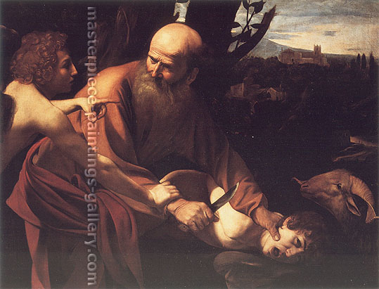 Michelangelo Merisi da Caravaggio, The Sacrifice of Isaac, 1600, oil on canvas, 40.9 x 53.1 in. / 104 x 135 cm, US$675
