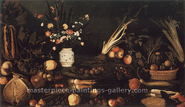 Michelangelo Merisi da Caravaggio, Still Life in the Style of Caravaggio, 1600, oil on canvas, 41.3 x 72.4 in. / 105 x 184 cm, US$720