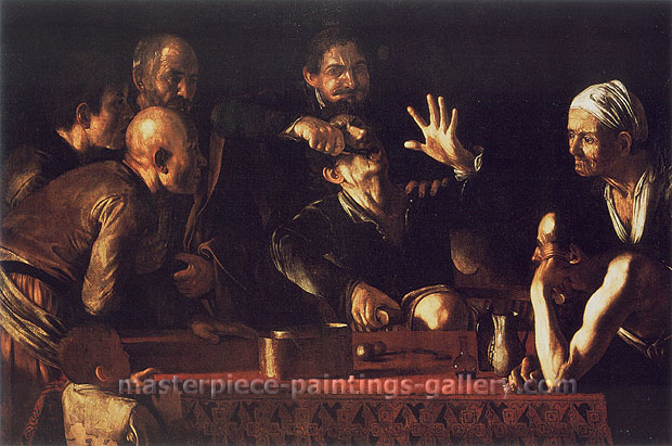 Michelangelo Merisi da Caravaggio, The Tooth-Drawer in a Tavern, 1610, oil on canvas, 43.9 x 61.3 in. / 111.6 x 155.6 cm, US$620