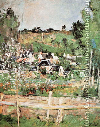 Paul C�zanne, View of Auvers-sur Oise | The Fence, 1873, oil on canvas, 22.3 x 17.3 in. / 56.7 x 44 cm, US$265