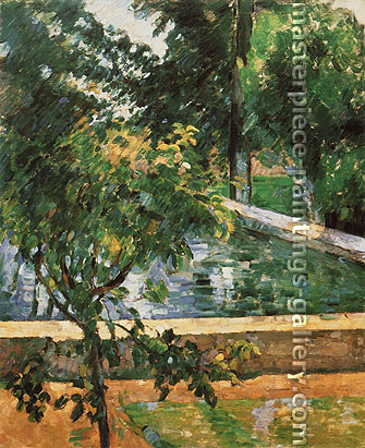 Paul Cézanne, Pool at the Jas de Bouffan, Bassin du jas Bouffan, 1882-85, oil on canvas, 28.7 x 23.6 in. / 73 x 60 cm, US$330