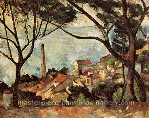 Paul Cezanne, The Sea at L'Estaque, 1883, oil on canvas, 28.7 x 36.2 in . / 73 x 92 cm, US$320