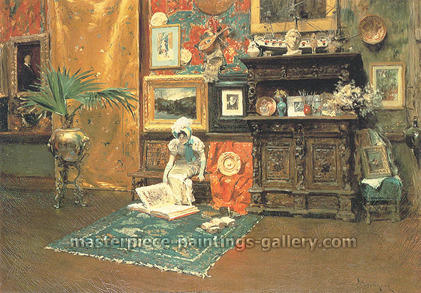 William Merritt Chase, In the Studio | in the Atelier, 1880, oil on canvas, 28.3 x 40.2 in. / 71.9 x 102.1 cm, US$500