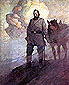 NC Wyeth painting Stonewall Jackson Gazes into Shenandoah Valley, 1910, oil on canvas, 32 x 26 in / 81.3 x 66.3 cm, US$280
