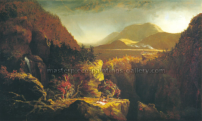 Thomas Cole, Scene from The Last of the Mohicans, 1826, oil on canvas, 26 x 42.9 in. / 66 x 109 cm, US$880