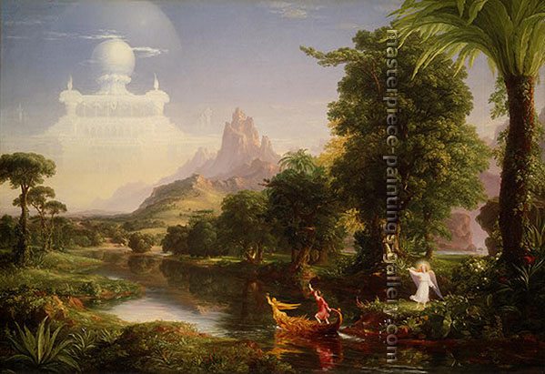 Thomas Cole, Journey of Life - Youth, 1842, oil on canvas, 15.5 x 23 in./ 58.4 x 39.5 cm, US$480