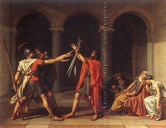 Jacques Louis David, The Oath of the Horatii, 1784 oil on canvas, 28.7 x 37 in. / 73 x 94 cm (330 x 425 cm original size), US$420
