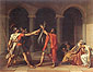 Jacques Louis David, The Oath of the Horatii, 1784 oil on canvas, 28.7 x 37 in. / 73 x 94 cm (330 x 425 cm original size), US$425