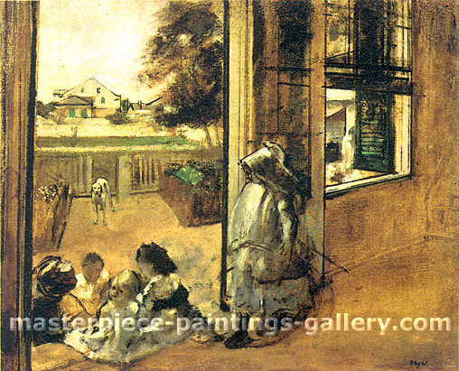Edgar Degas, Children on The Steps,  New Orleans, 1872-1873, oil on canvas, 27 x 32 in. / 68.6 x 83.4 cm, US$330