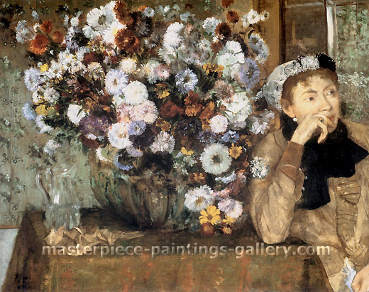 Edgar Degas, A Woman with Chrysanthemums, 1865, oil on canvas, 27.9 x 36.2 in. / 71 x 92 cm, US$390