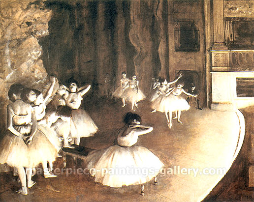 Edgar Degas, Rehearsal of a Ballet on the Stage, 1874, oil on canvas, 25.6 x 31.9 in. / 65 x 81 in. / US$280