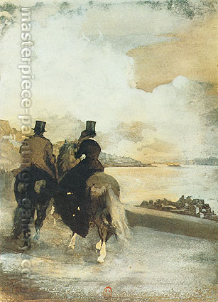 Edgar Degas, Two Riders by a Lake, 1861, oil on canvas, 21.2 x 16 in. / 53.8 x 40.7 cm, US$320