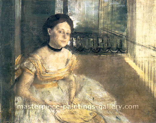 Edgar Degas, Woman Seated on a Balcony, New Orleans, 1872, oil on canvas, 30.3 x 25.2 in. / 64 x 77 cm, US$285