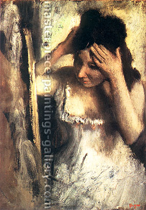 Edgar Degas, Woman Combing her Hair before a Mirror, 1877, oil on canvas, 23.6 x 18.3 in. / 60 x 46.5 cm, US$330
