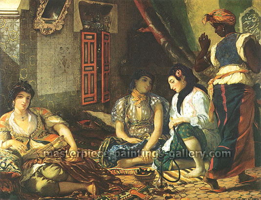 Eugene Delacroix, Women of Algiers in their Apartments | Algerian Women in Their Apartments, 1834, oil on canvas, 18.9 x 24 in. / 47.9 x 61 cm, US$369