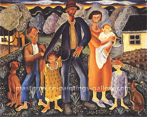 Russell Drysdale, The Rabbiter and his Family, 1938, oil on canvas, 24.2 x 30.2 in. / 61.5 x 76.7 cm, US$280