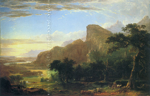 "Asher Brown Durand, Landscape - Scene from ""Thanatopsis"", 1850, oil on canvas, 25.9 x 40 in. / 65.8 x 101.6 cm, US$600"
