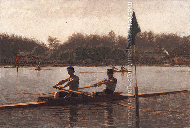 Thomas Eakins, Biglin Brothers Turning the Stake, 1873, oil on canvas, 40.25 x 60.25 in. / 102.2 x 153 cm, US$540