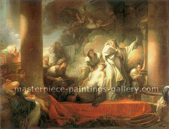 Jean Honore Fragonard, The High Priest Corseus Sacrifices Himself to Save Callihoe, 1765, oil on canvas, 45.6 x 59 in. / 115.9 x 150 cm, US$825