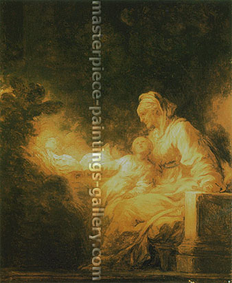 Jean Honore Fragonard, The Education of the Virgin, 1770, oil on canvas, 29.8 x 24 in. / 75.8 x 61 cm, US$350