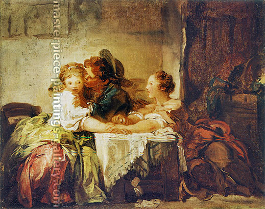 Jean Honore Fragonard, Lost Wager, 1759, oil on canvas, 18.5 x 23.8 in. / 47 x 60 cm, US$300