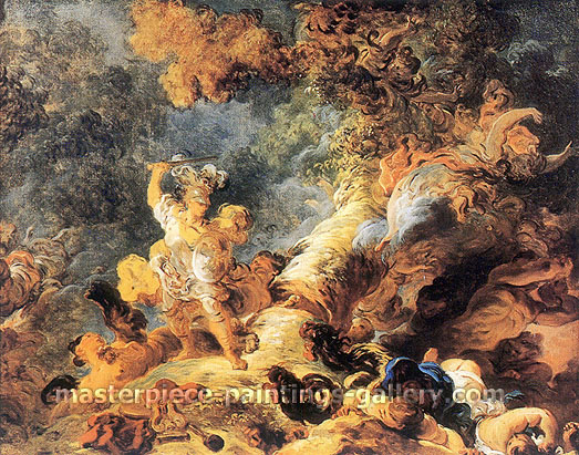 Jean Honore Fragonard, Rinaldo in the Enchanted Forest, 1764, oil on canvas, 28.4 x  35.9 in. / 72 x 91 cm, US$450
